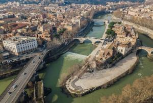 Aerial view of Tiber Island in Rome
