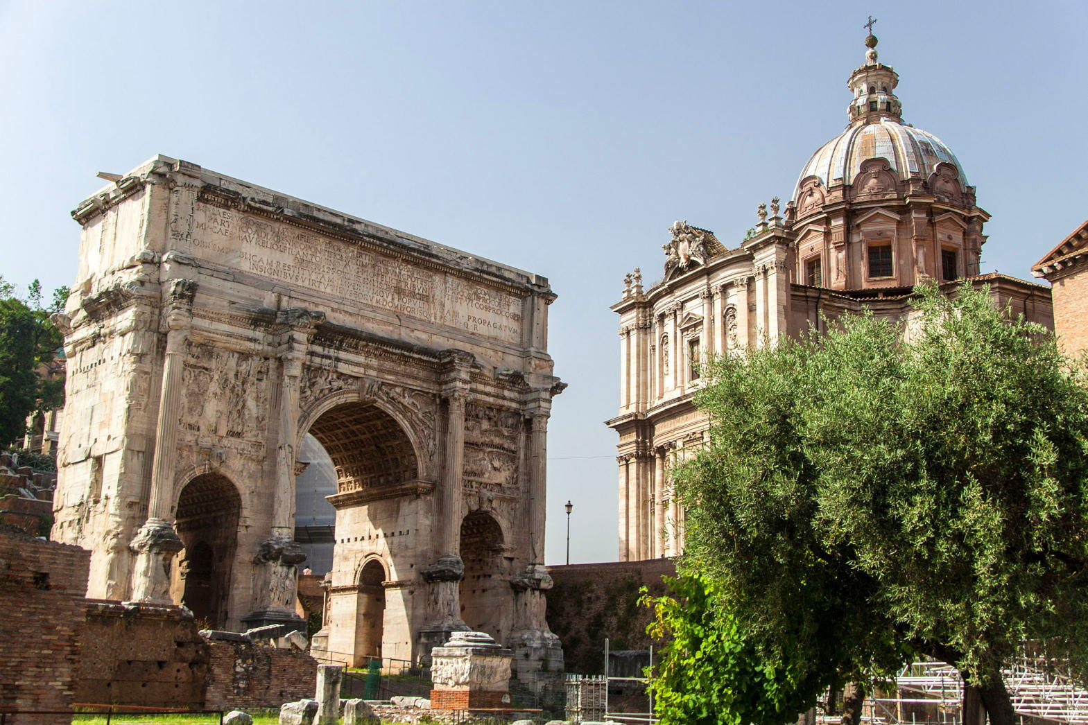Arch of Septimius Severus and church of Santi Luca e Martina at the Roman Forum, Rome