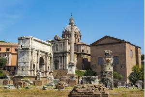 Arch of Septimius Severus and the Curia in Roman Forum, Rome