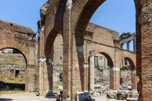 Basilica Julia at Roman Forum in city of Rome, Italy