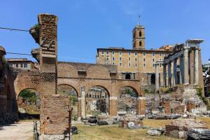 Basilica Julia at Roman Forum in city of Rome, Italy
