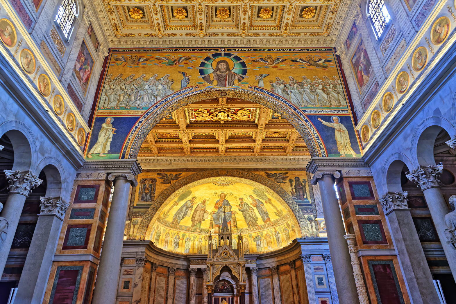 Basilica of Saint Paul Outside the Walls. Famous apse mosaic of Jesus Christ Pantokrator.