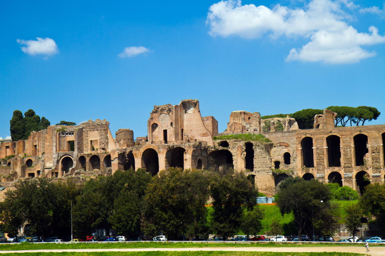 Baths of Caracalla seen from the Circus Maximus in Rome