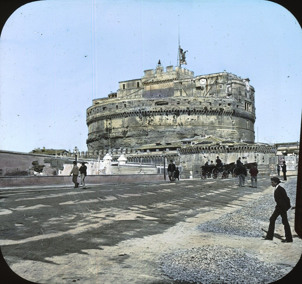 Castel San Angelo, from street leading to St. Peter's, Rome, Italy between 1900-1910 (Hand colored lantern slide)