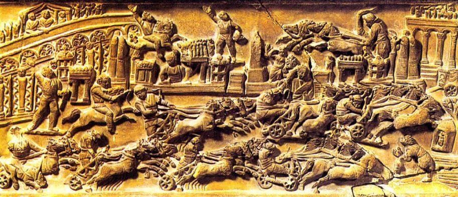 Chariot race in the Circus Maximus, carving. Museo Archeologiea, Foligna