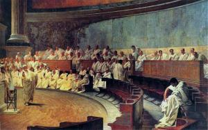 Cicero arraigns Catiline in the Senate. Painting by G. Maccari (1840-1919). Palazzo Madama, Rome.