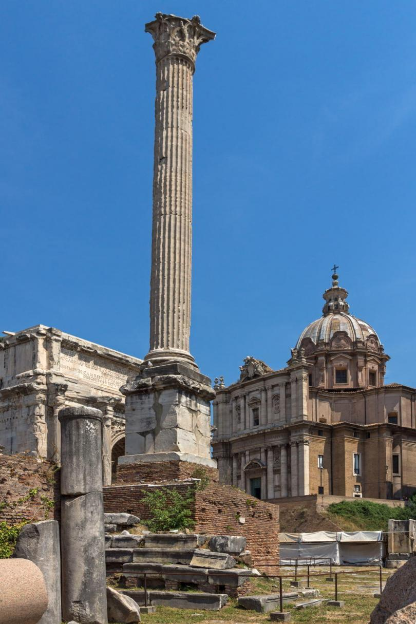 Column of Phocas at Roman Forum in city of Rome, Italy