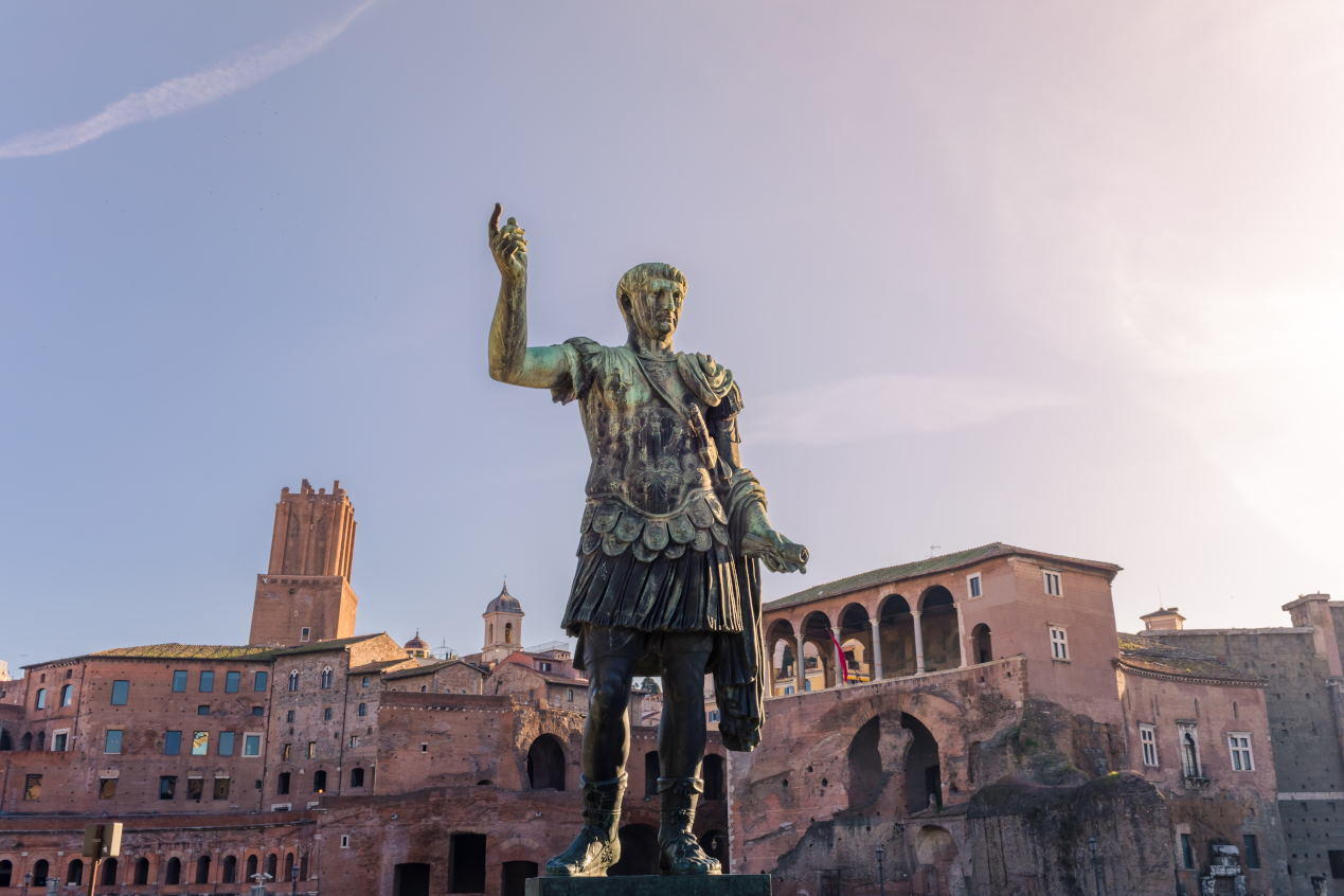 Emperor Caesar Augustus Trajan statue, in front of the Trajan's Markets in Rome, Italy