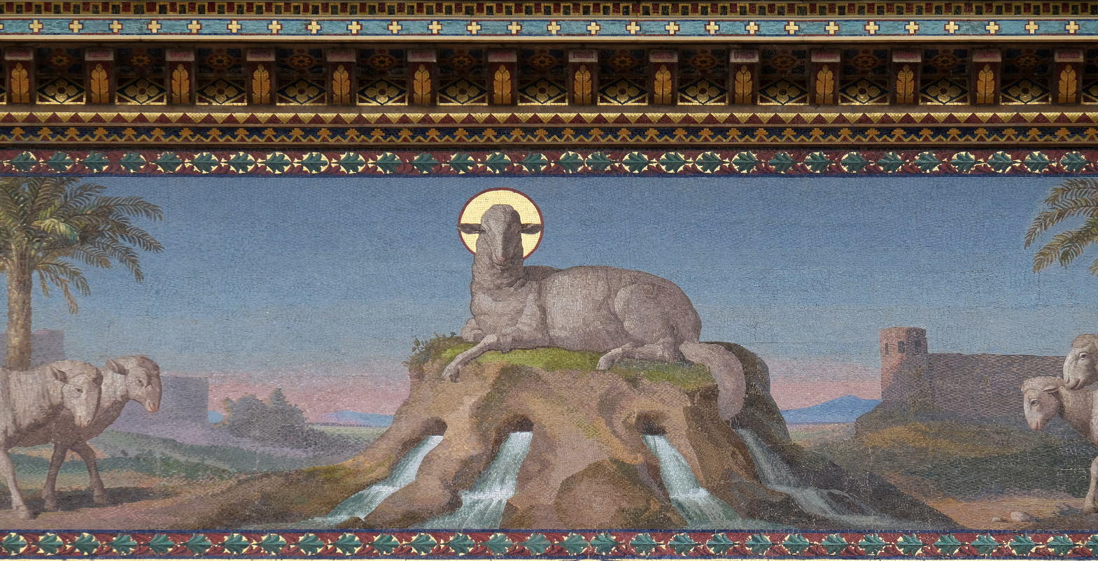 Mosaic of Mystical Lamb, Basilica of Saint Paul outside the walls