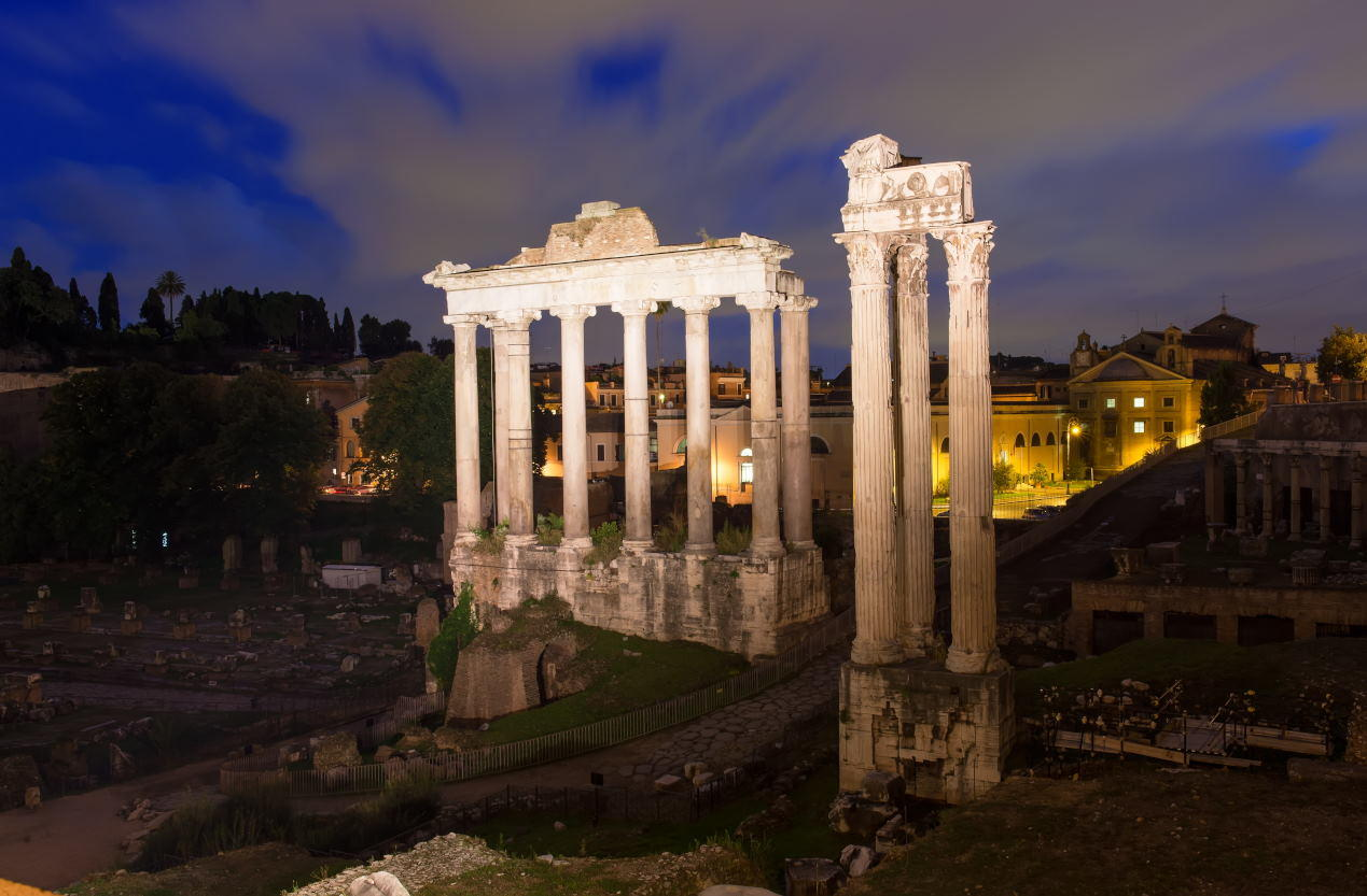Night view of Temple of Saturn. Forum Romanum in Rome, Italy