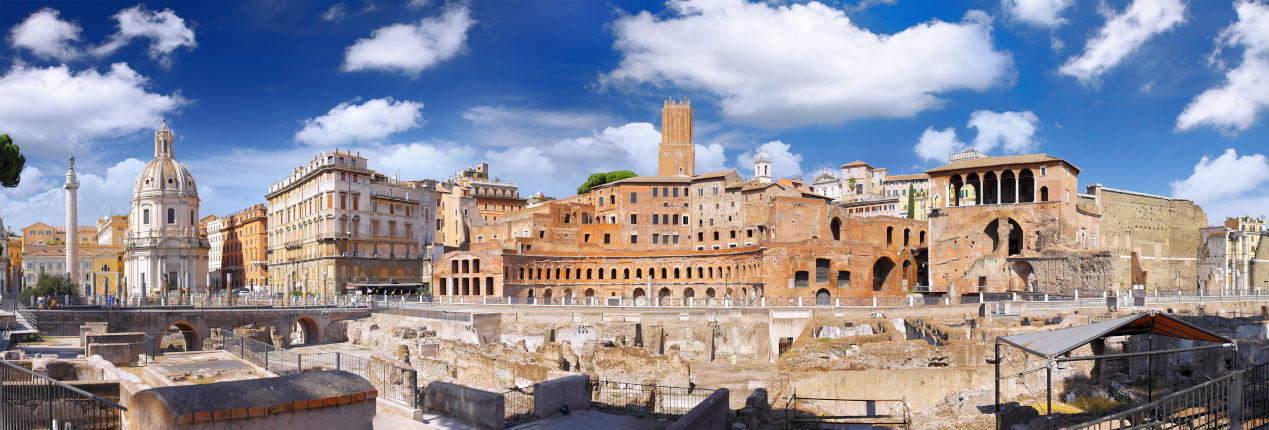 Panorama View of Trajan's Market and Trajan's Forum in Rome, Italy - Imperial Forum Tours