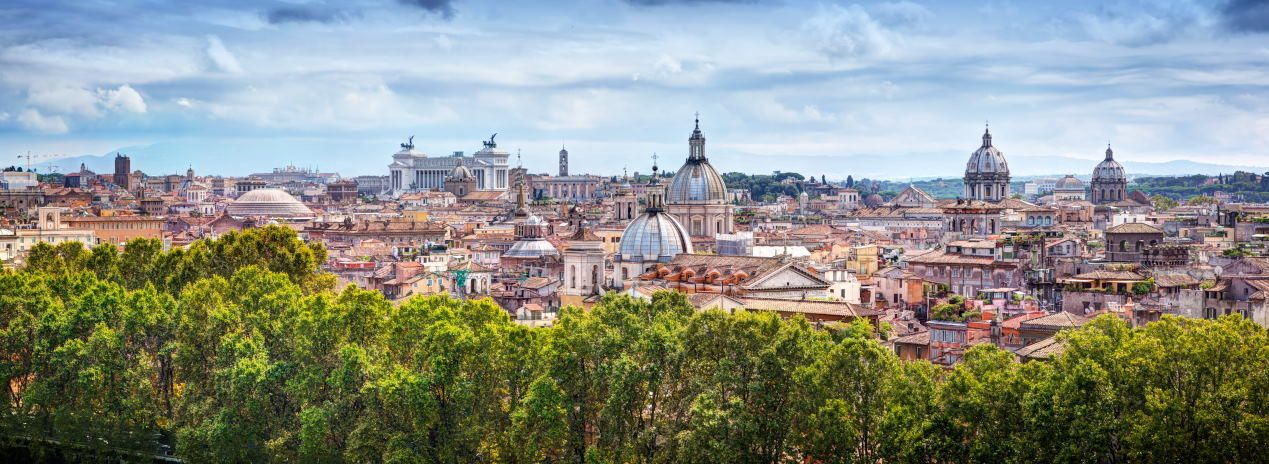 Panorama of the ancient city of Rome, Italy. As seen from Castel Sant'Angelo.