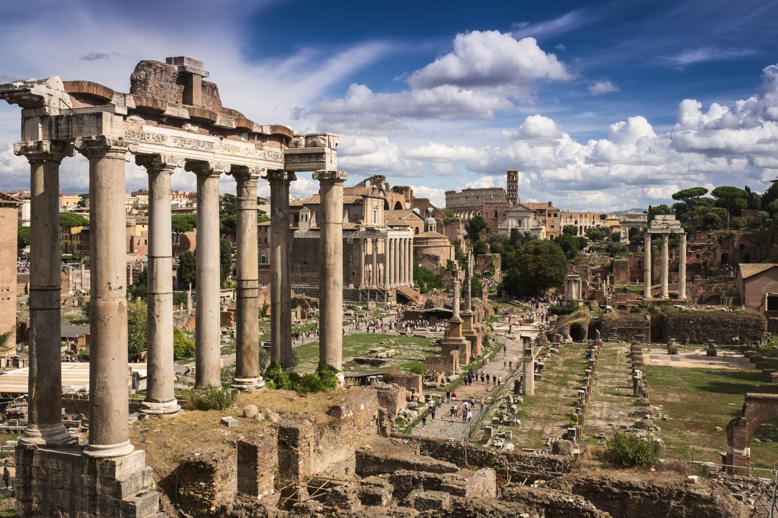 Panoramic view of the Roman Forum Foro Romano and Ruins of Septimius Severus Arch and Saturn Temple in Rome, Italy