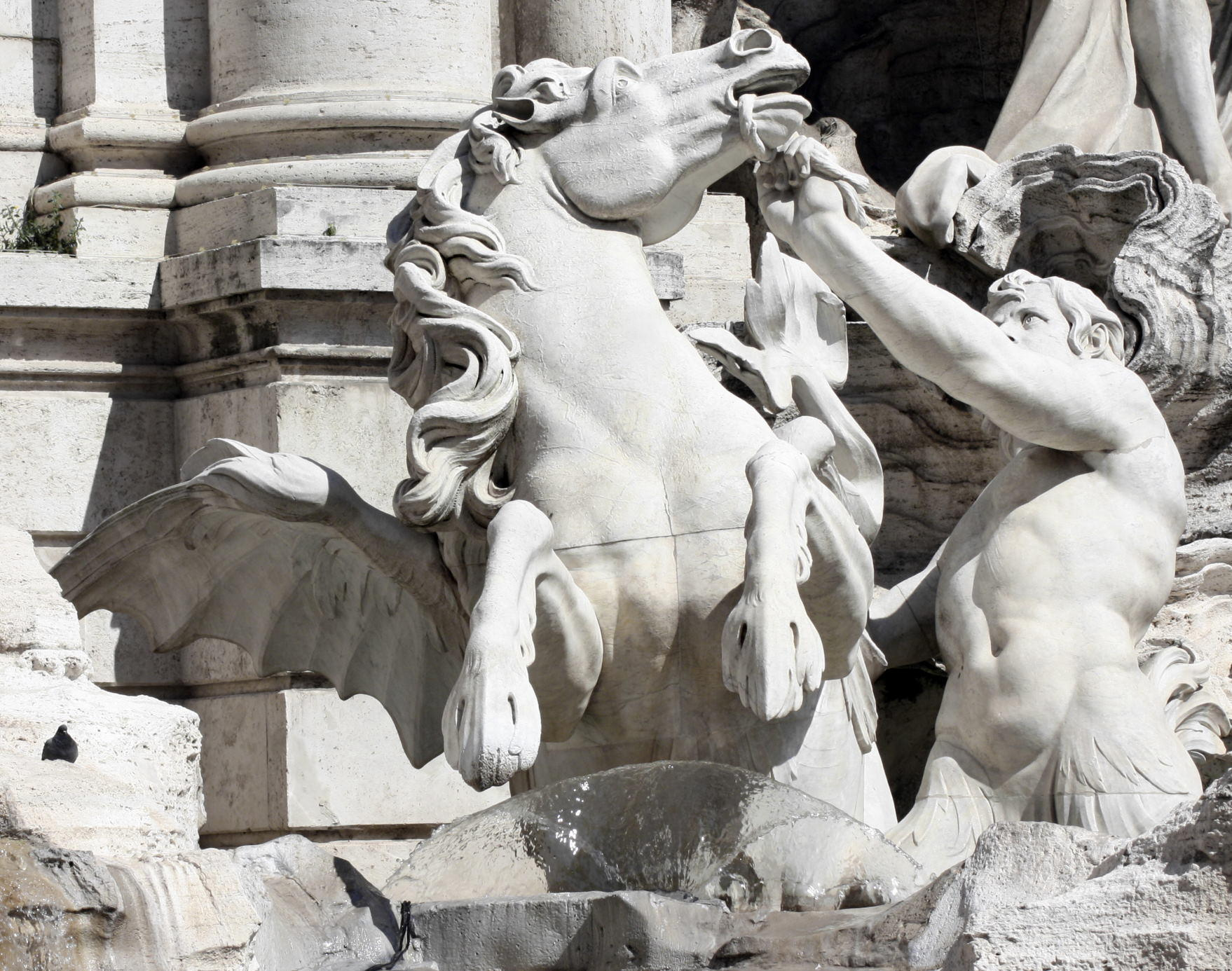 Rearing horse being led by a triton (Pietro Bracci 1700-1773)-Trevi Fountain, Rome, Italy