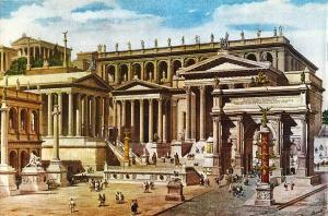 Reconstruction Drawing of Roman Forum - Giuseppe Becchetti. 1893.
