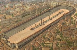 Reconstruction Sketch of Circus Maximus - Photo Credit & Sketch. J.C GOLVIN