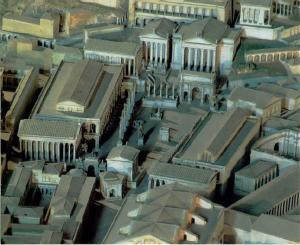 Reconstruction of the Forum with (above, from the left) the Temple of Saturn, the Temple of Vespasian and Titus, the Temple of Concord and the Tabularium in the background.