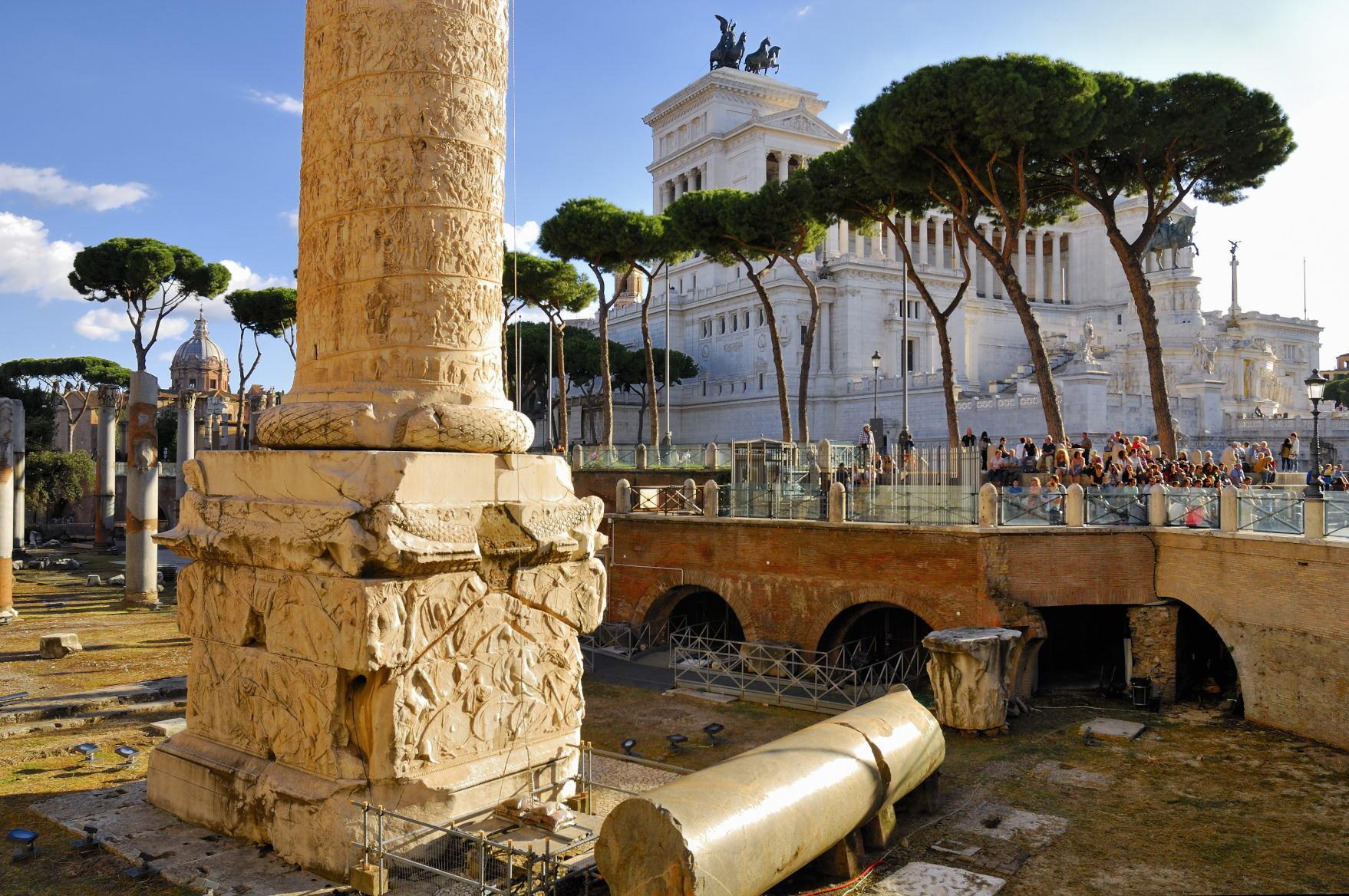 Forum and Trajan's Column, Rome's historic center, Italy.