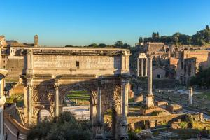 Arch of Septimius Severus (203 AD) and the ruins of the Roman Forum