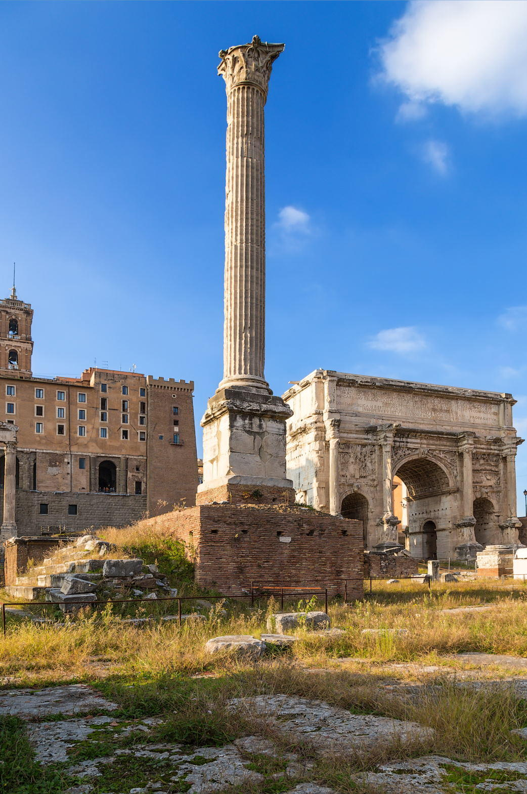 The Roman forum, from left to right the Column of Phocas (608 AD) and the Arch of Septimius Severus (205 AD)