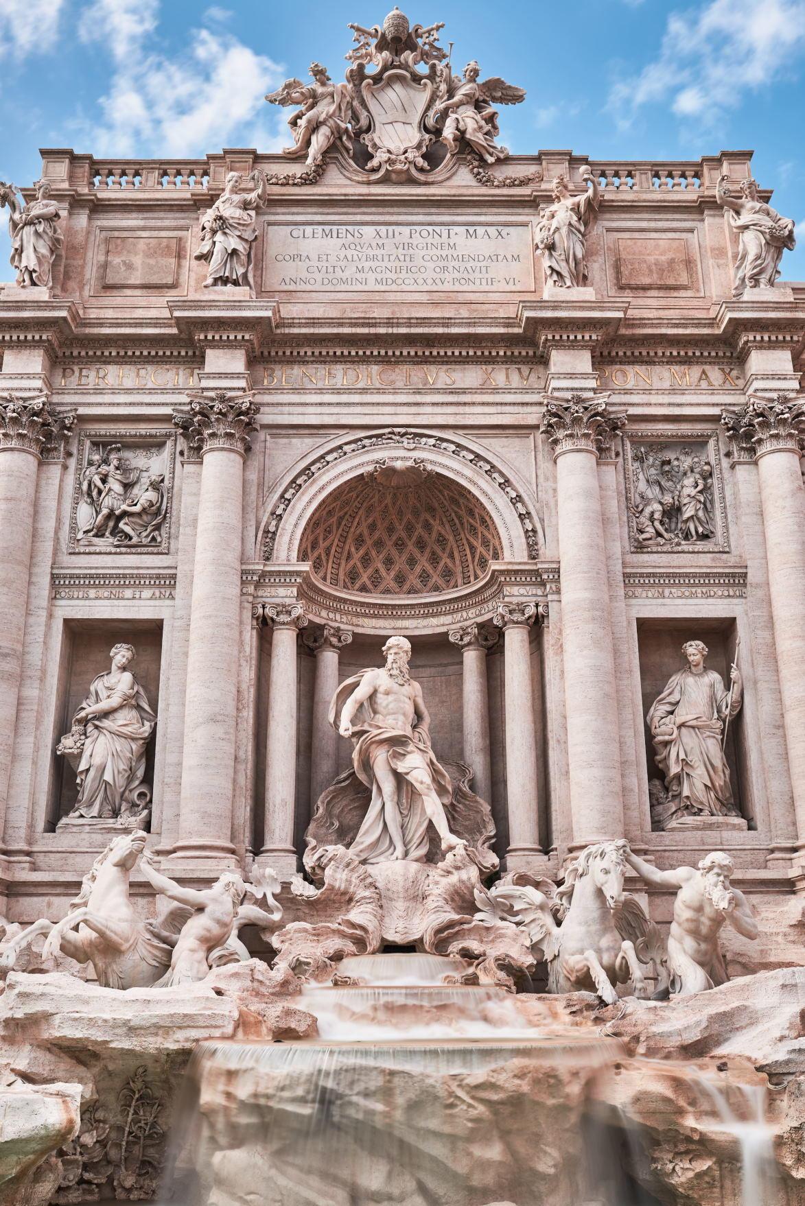 "Rome, Trevi Fountain. Italy. - Allegorical statue of ""Ocean "" (Pietro Bracci 1700-1773)"