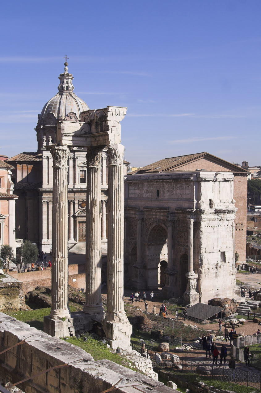 Rome - view of forum romanum - Temple of Concord, Arch of Septimius Severus