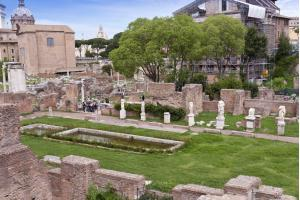 Ruins of the House of Vestals in the Roman Forum. Rome, Italy