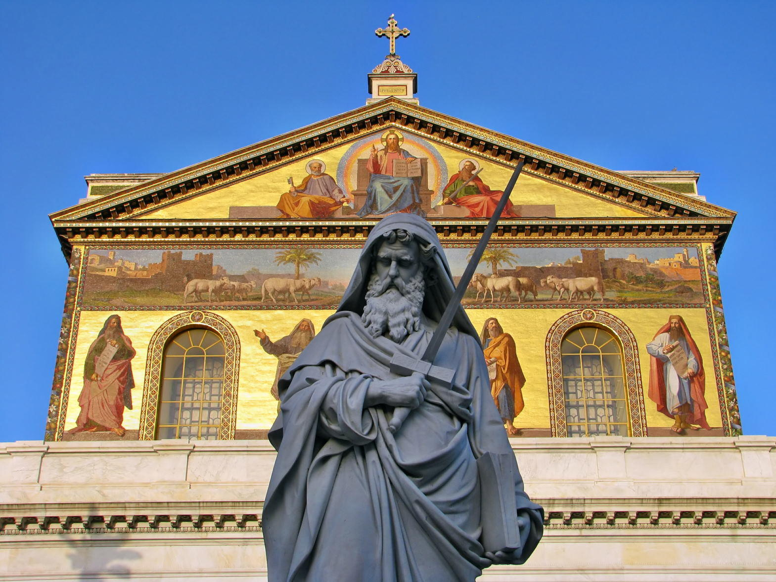 Statue of St. Paul holding a sword in Basilica of Saint Paul outside the walls