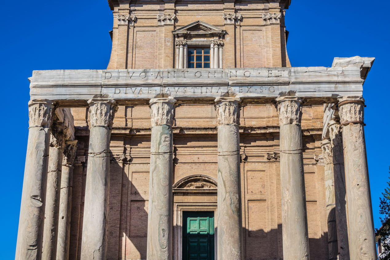 Temple of Antoninus and Faustina, 141 AD. Rome, Italy.