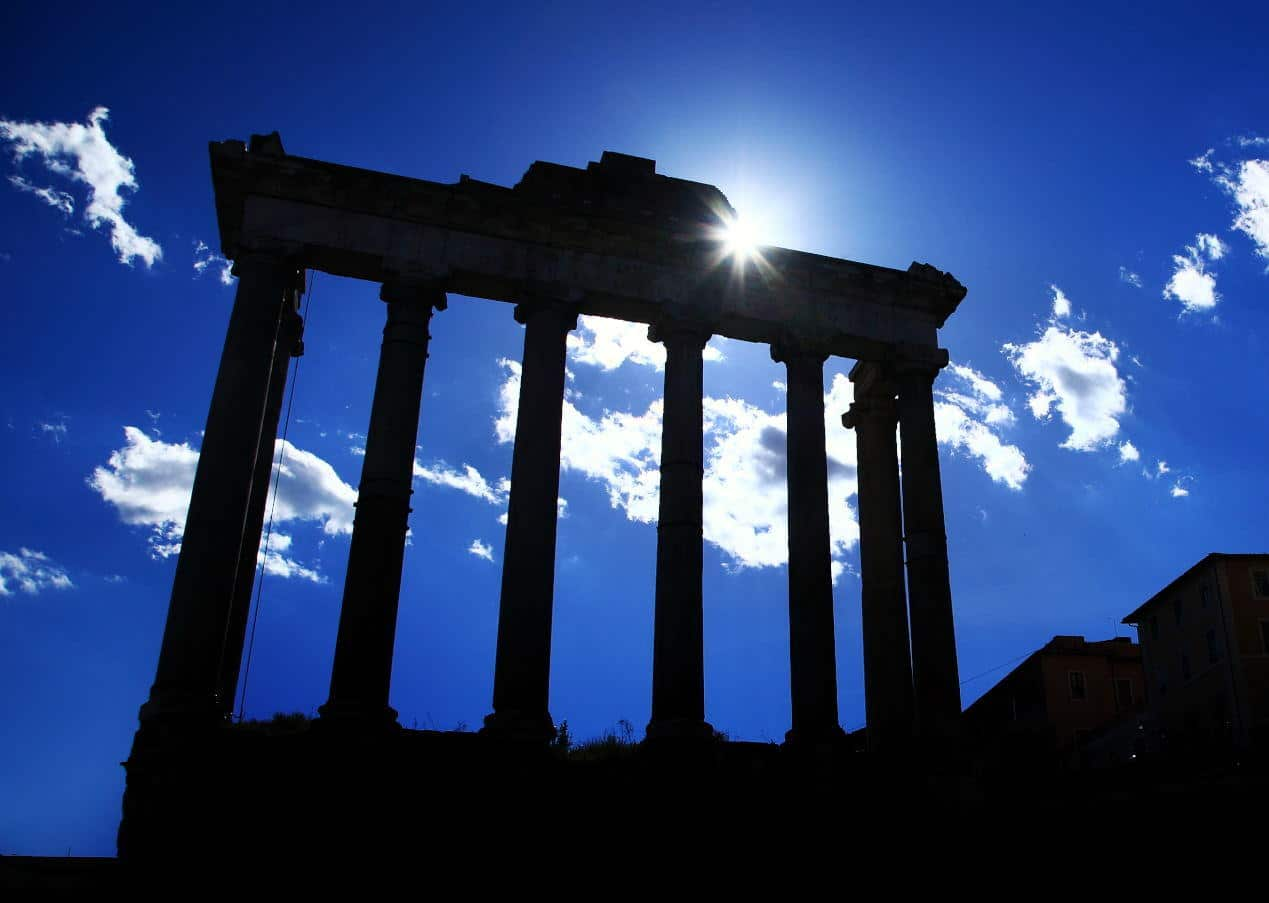 Temple of Saturn in Roman Forum, Rome.