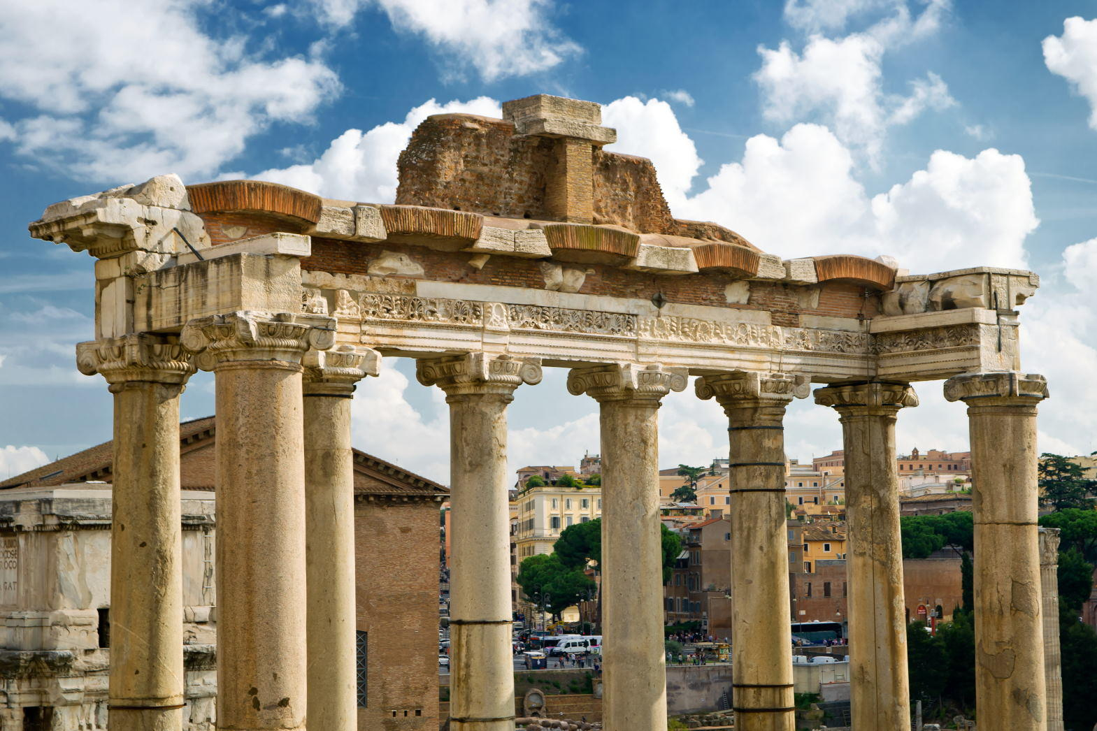 Temple of Saturn in the Roman Forum, Rome, Italy.