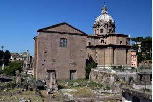 The Curia Julia, the meeting place of the Roman Senate and the Santi Luca e Martina church, roman forum, Rome, Italy