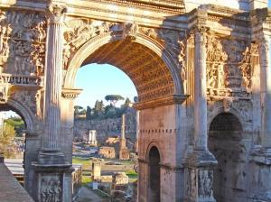 The Triumphal Arch of Septimus Severus located in Roman Forum in Rome, Italy