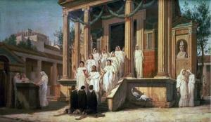 The Vestal Virgins, In fact the image depicts the temple of Isis in Pompeii, art by Louis Hector Leroux.