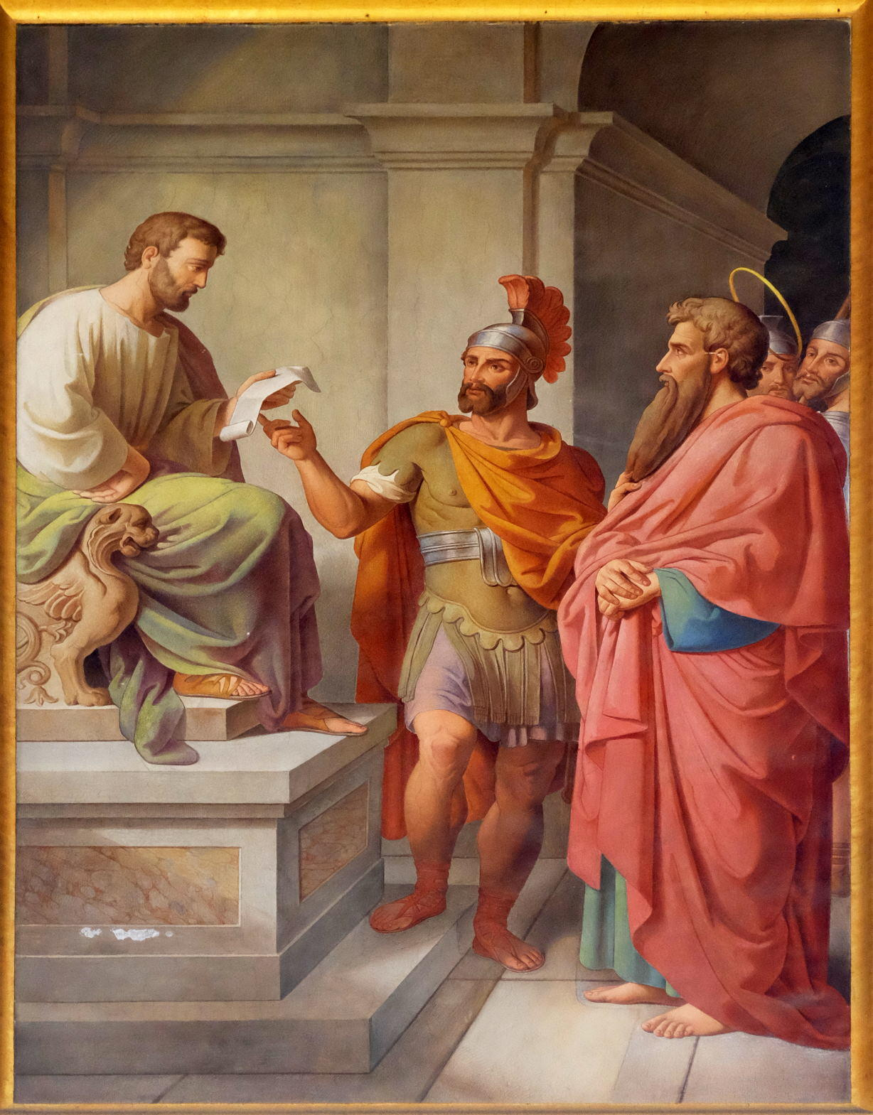 The fresco with the image of the life of St. Paul Paul Before Publius in Malta, basilica of Saint Paul Outside the Walls
