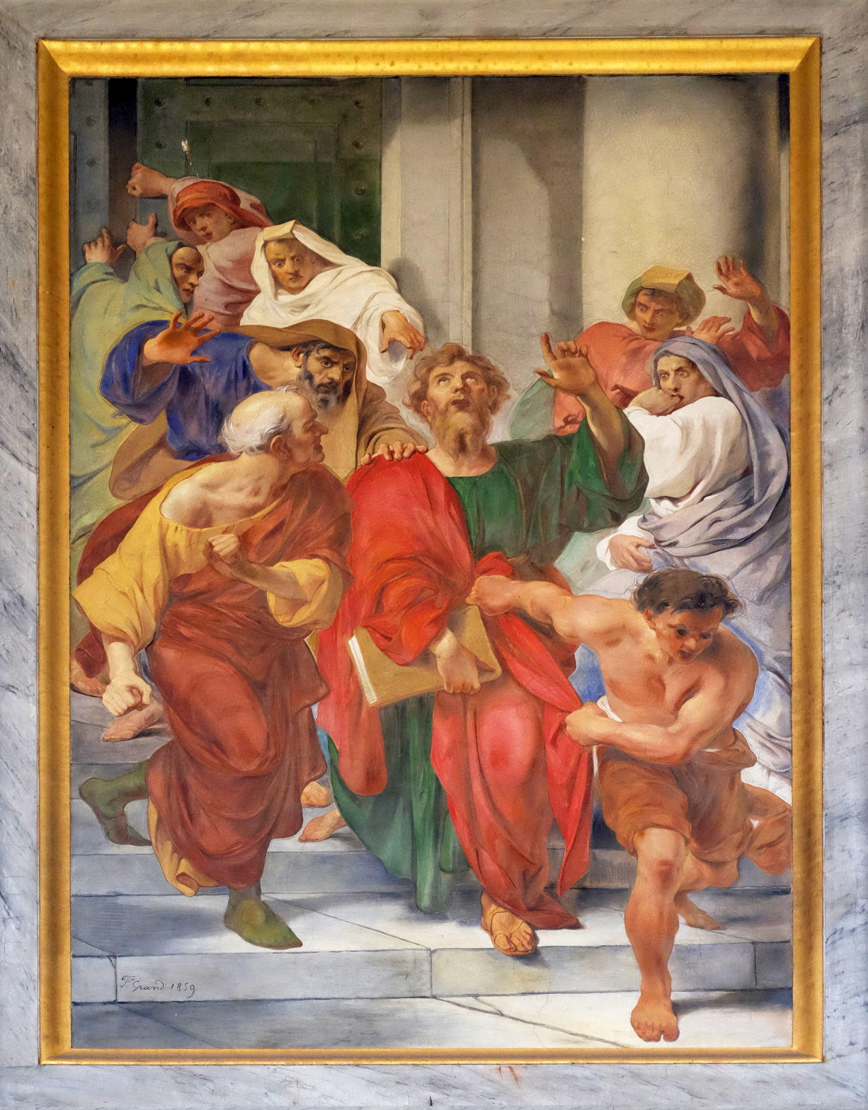 The fresco with the image of the life of St. Paul Paul is Dragged from the Temple, basilica of Saint Paul Outside the Walls