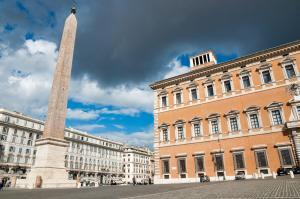 The highest Obelisk in Rome and lateran palace at Piazza di Laterano in Roma