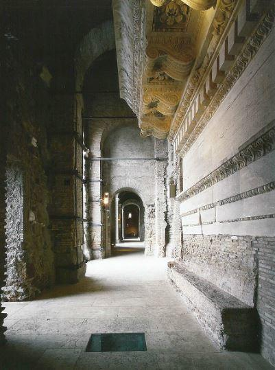 The interior of the upper gallery of the Tabularium with, in the foreground, the fragment of trabeation from the Temple of Concordia.