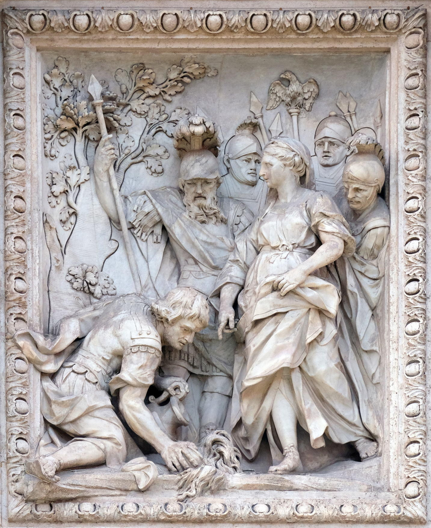 The maiden (virgo) showing Agrippa the spring at the Trevi Fountain in Rome.