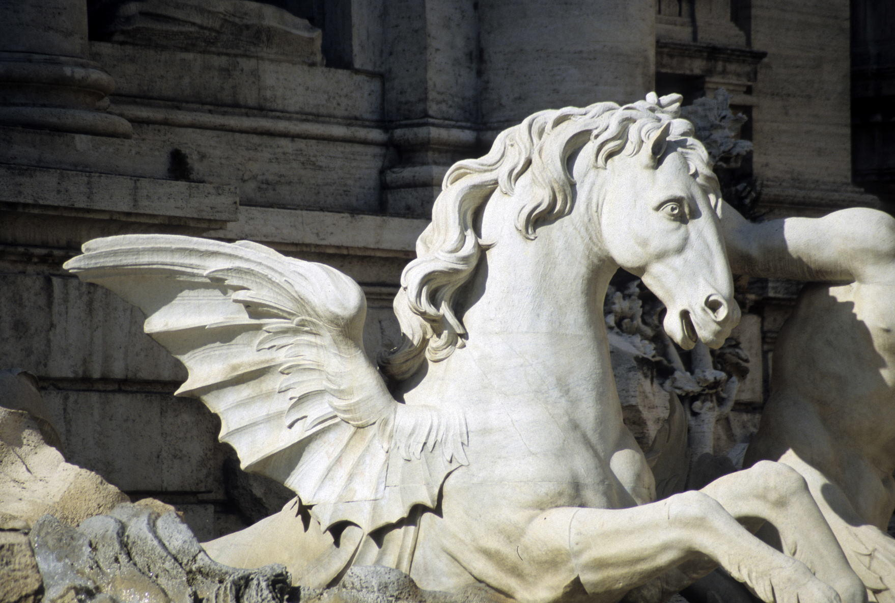 The sculptures of the Ocean and the two tritons, with the winged horses in the central part in Trevi Fountain, Rome, Italy (1)