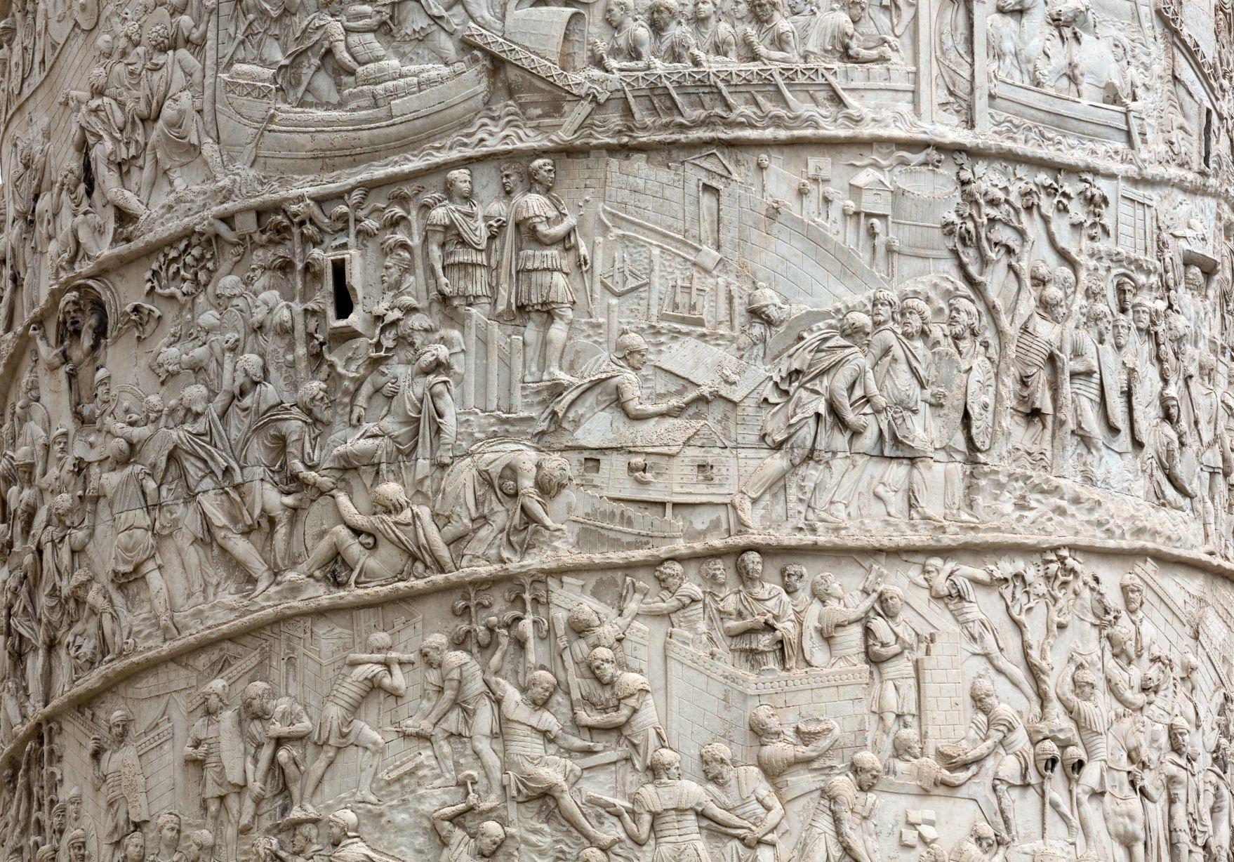 Trajan's Column . Roman triumphal column in Rome, Italy