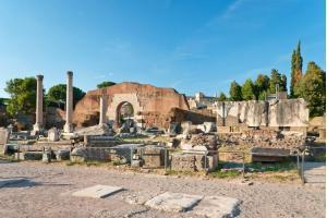 View at the Basilica Aemilia ruins at the Roman Forum, Rome, Italy