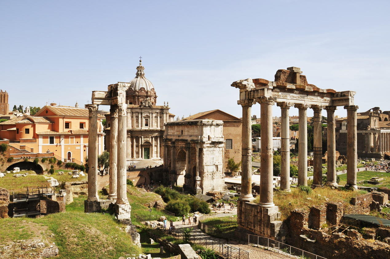 View of the roman ruins in Rome, Italy. - Temple of Saturn