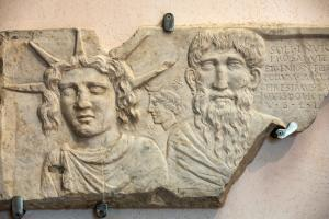 A funerary slab in the baths of Diocletian in Rome. Italy