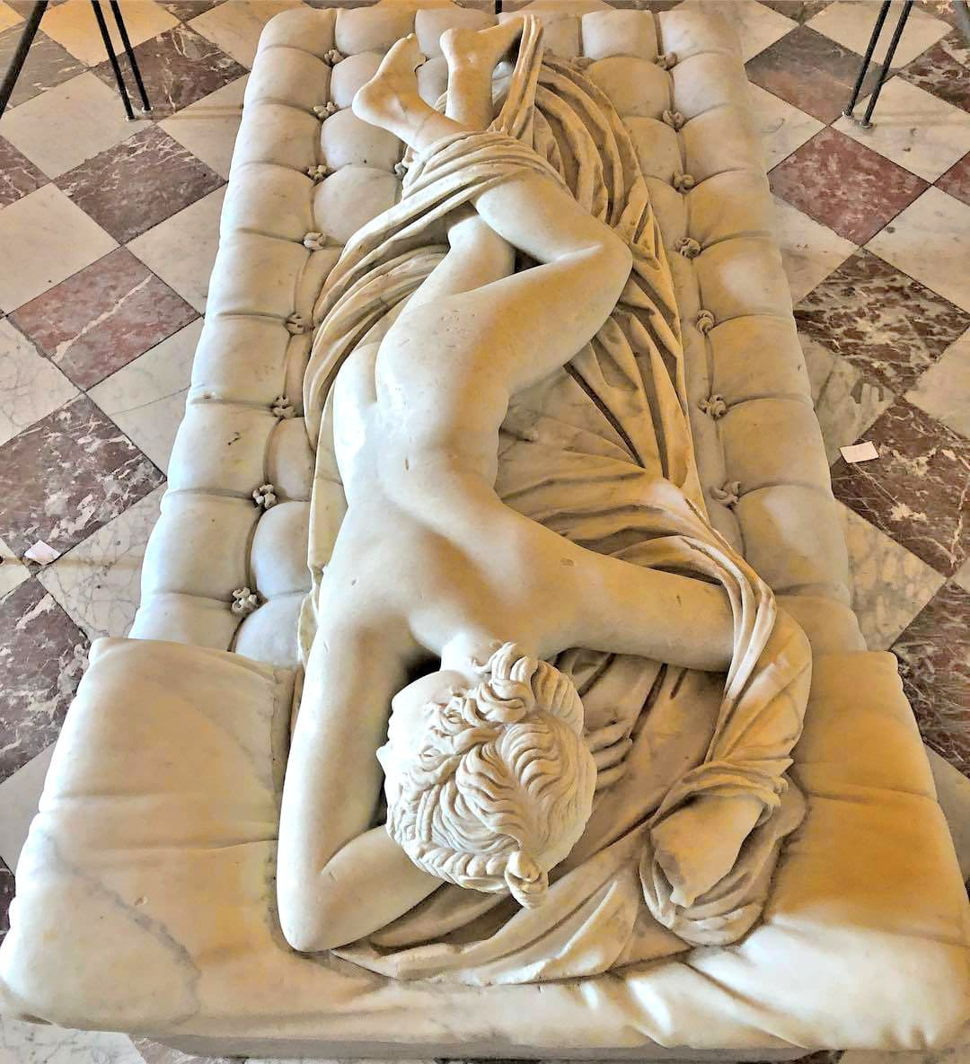 A sleeping hermaphrodite marble statue ,2th ce. AD - was found in the Baths of Diocletian in Rome.