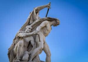 A statue in front of Altare della Patria (Altar of the Fatherland) monument in Piazza Venezia.
