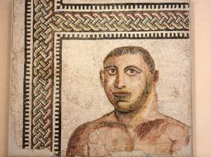 Ancient mosaic in baths of Diocletian (Thermae Diocletiani) in Rome. Italy