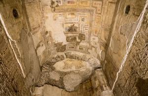 Ancient roman paintings and wall art inside the Domus Aurea palace in Rome