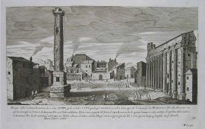 Antonius Column and Temple of Hadrian, Sadeler, Prague, 1606-1660.