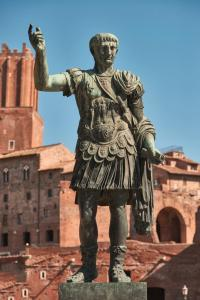 Bronze statue of emperor Caesar, Imperial Forums, Rome
